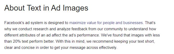 Texto do Facebook em imagens de anúncios