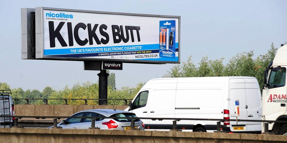 Nicolites used over 1000 billboards throughout the UK, like one pictured to promote their E-Cigarette. Their message was all about swapping harmful cigarettes with vaping products.
