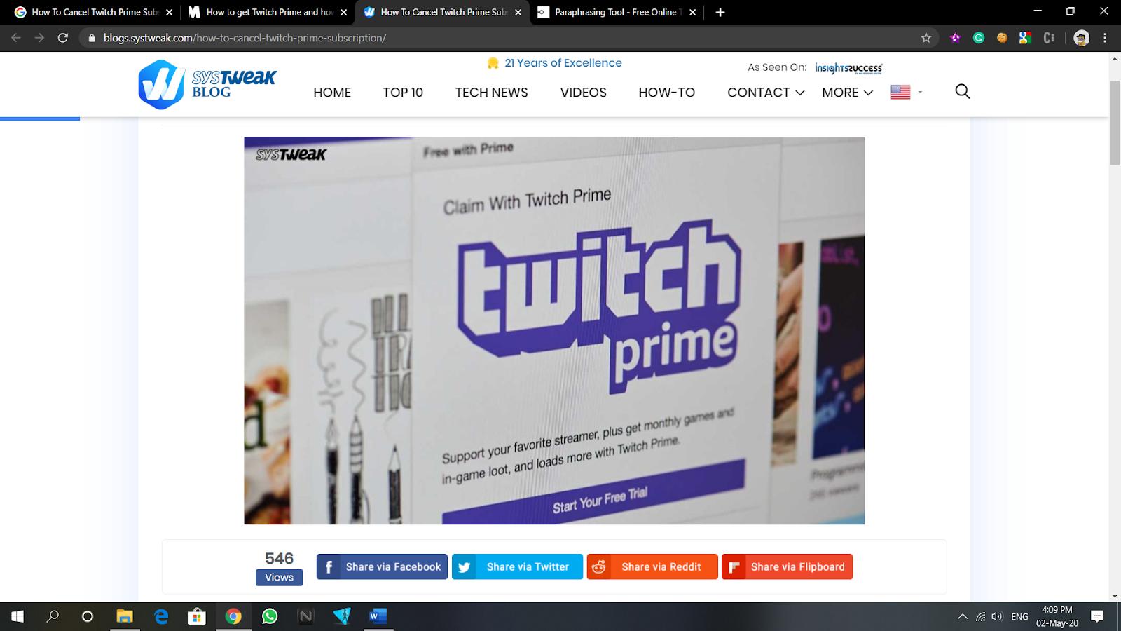 cancel twitch prime subscription