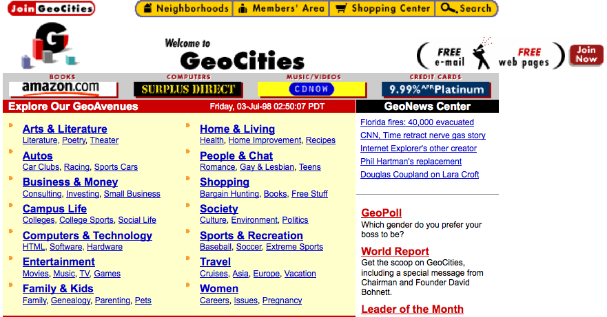 geocities homepage