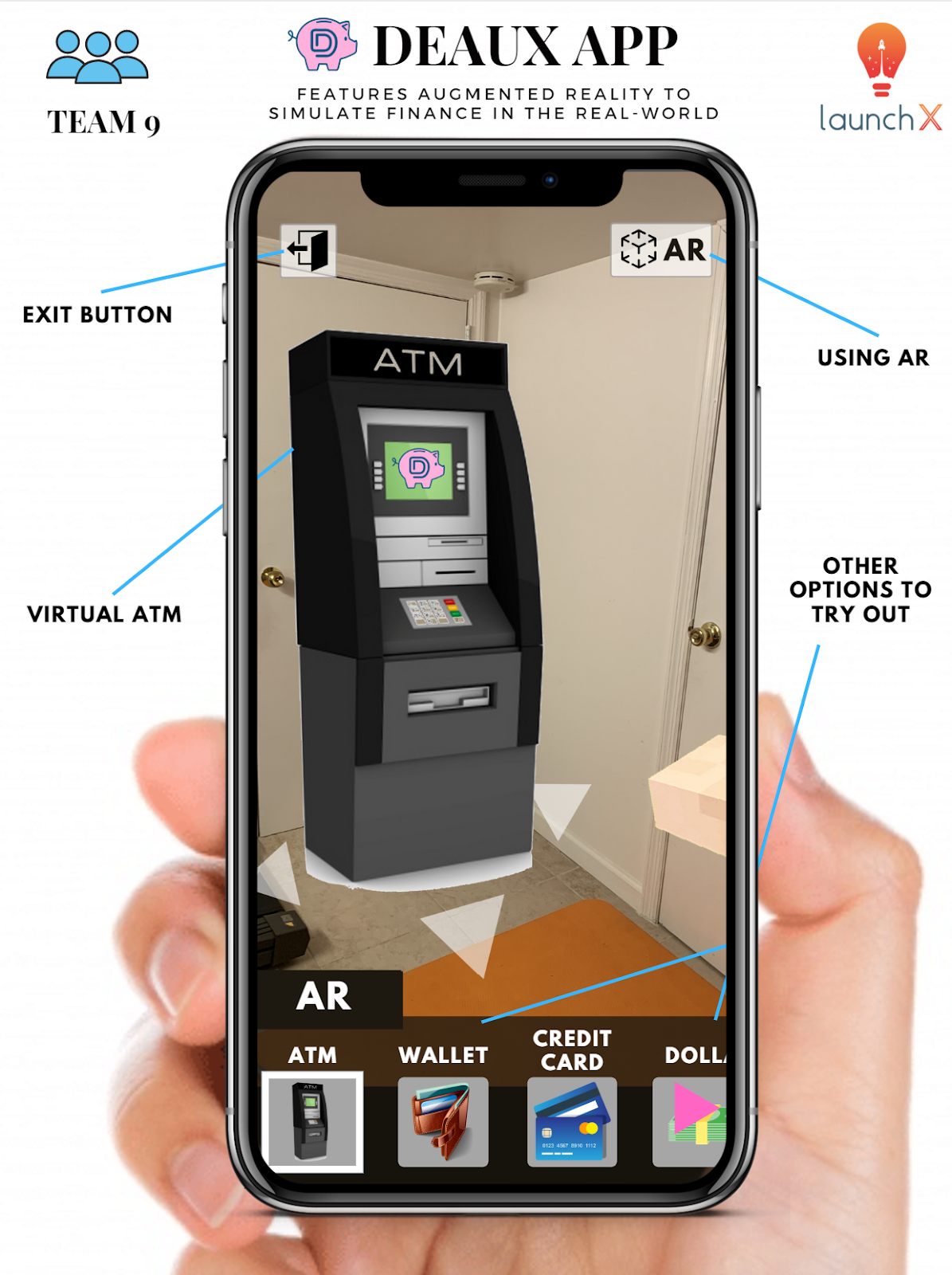 A mockup of the Deaux app, displaying a virtual ATM to teach students about banking.
