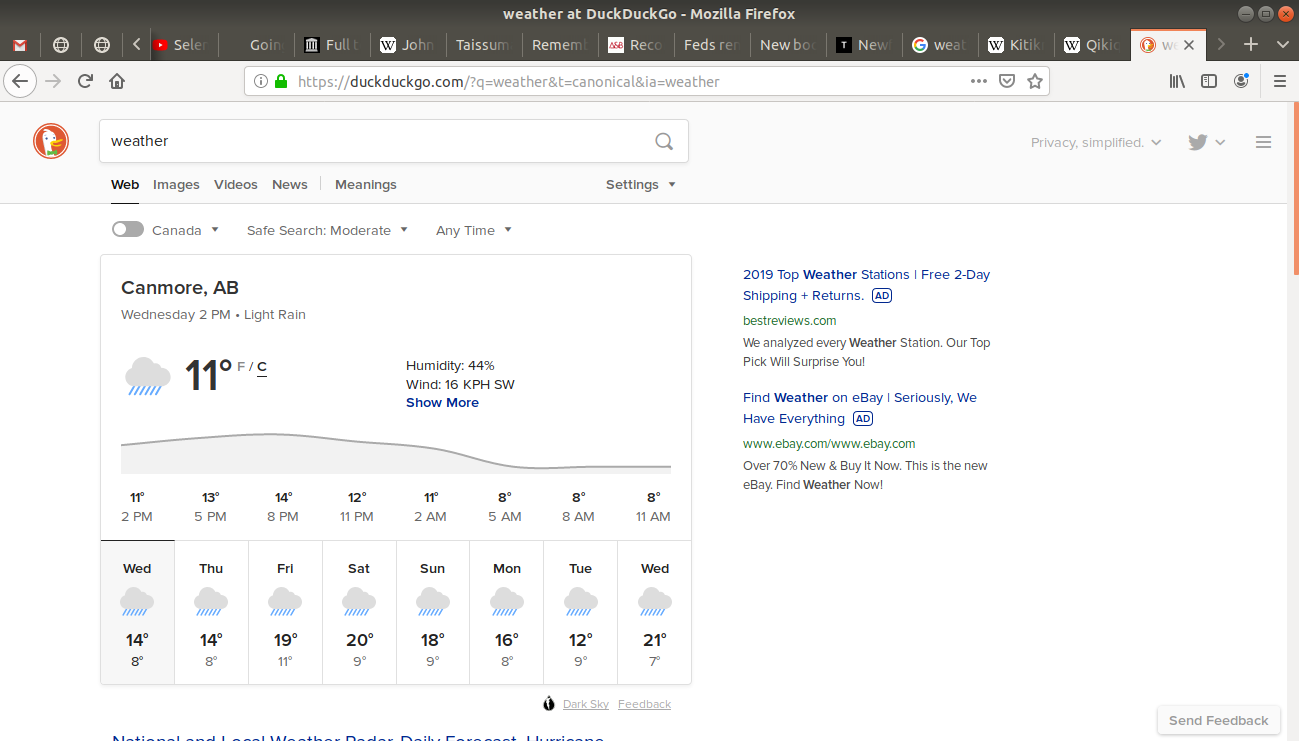 Weather opened for Canmore, Alberta in duckduckgo