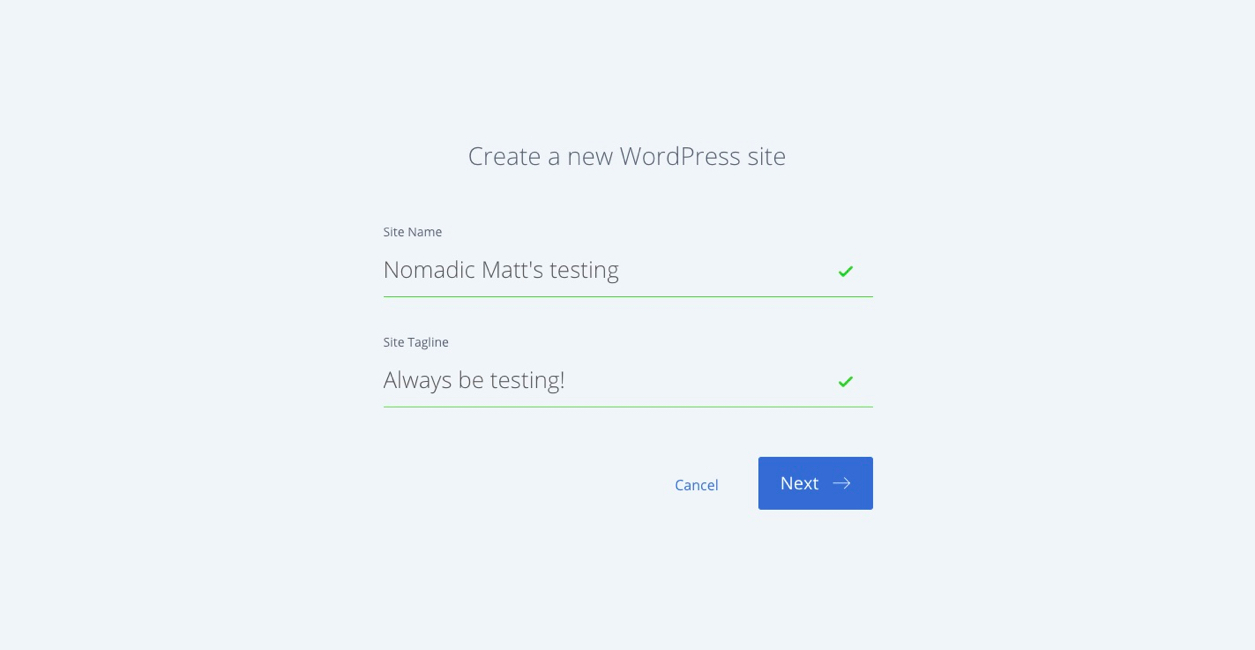 creating a wordpress site screenshot