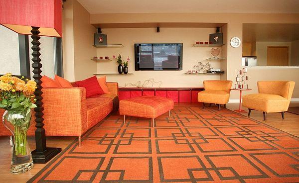 Điểm nhấn ấn tượng cho phòng khách kiểu retro với thàm trải sàn họa tiết