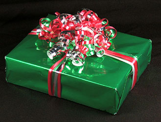 A gift with Curled ribbon on top