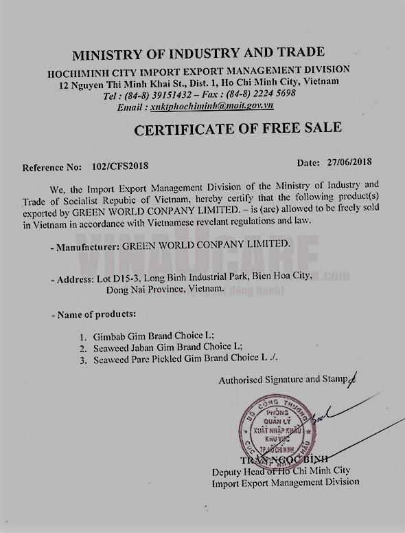 Mẫu giấy chứng nhận lưu hành tự do sản phẩm - CFS