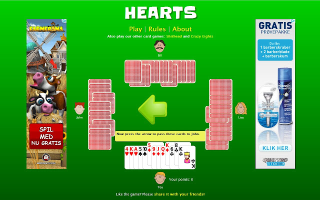 play hearts free against computer