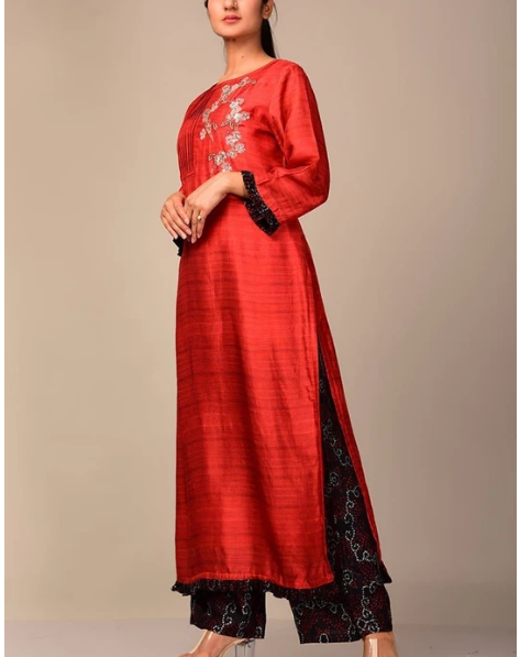 Vasansi Crimson Red Kurta Set