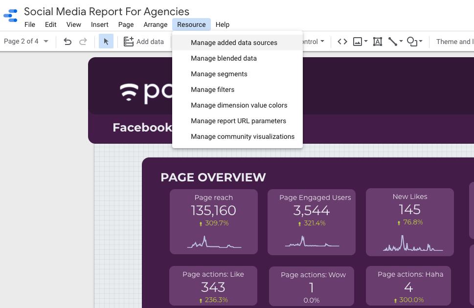 Manage added data sources on Google Data Studio