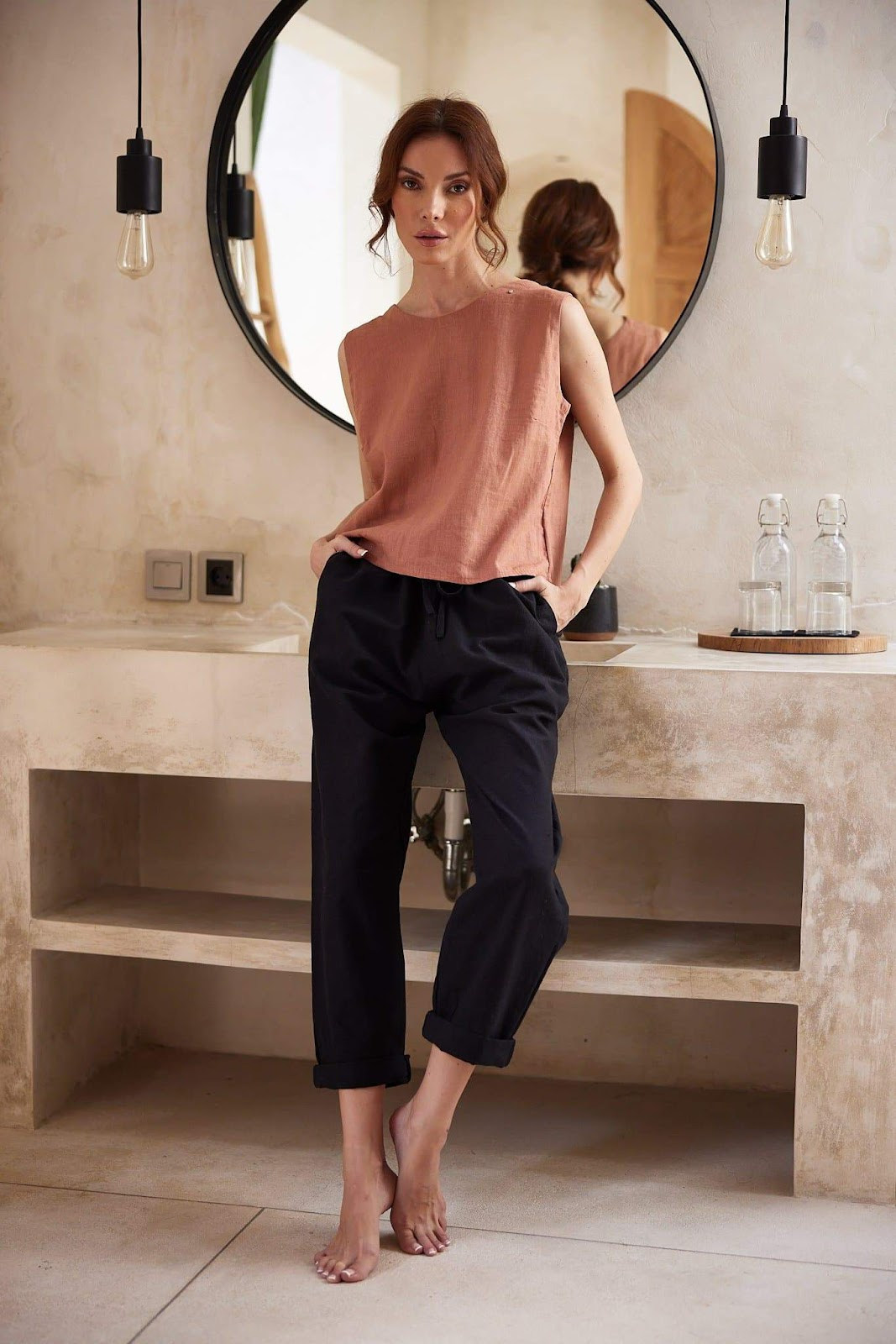 Loose Linen House Pants in Black