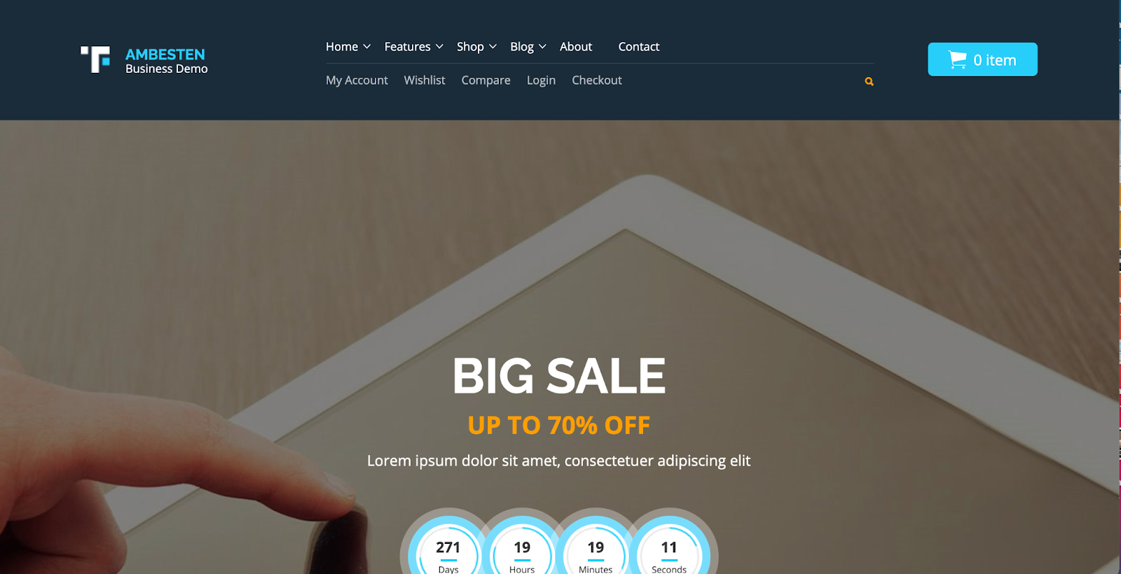Ambesten WordPress Marketplace theme homepage featuring the tagline, computer screen, and example of the the theme layout