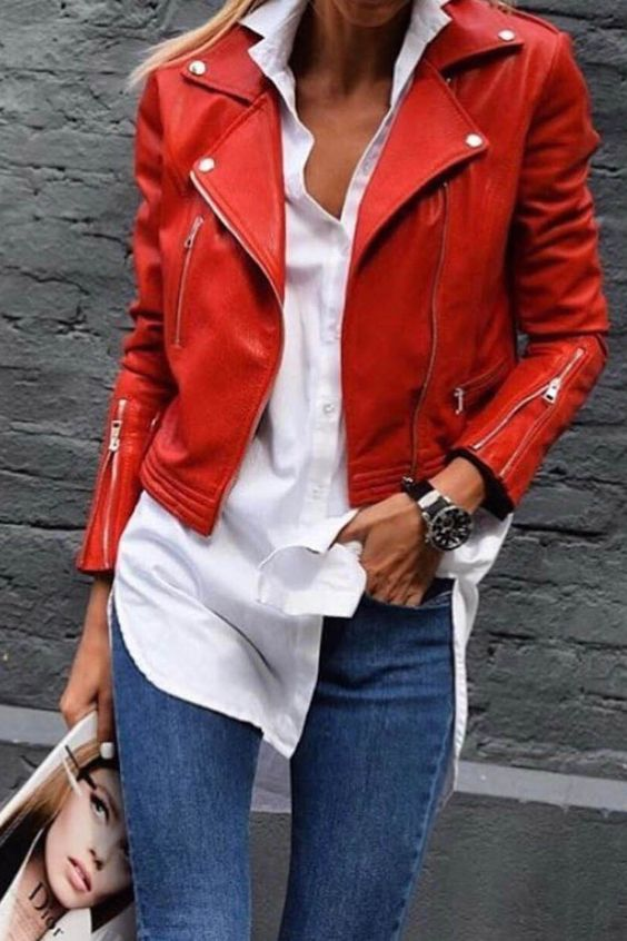 woman wearing a red leather jacket