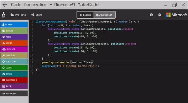 lập trình makecode Minecraft