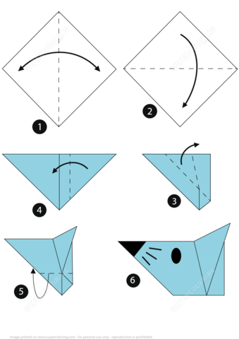 Click to see printable version of How to Make an Origami Mouse Face Step by Step Instructions Paper crafts