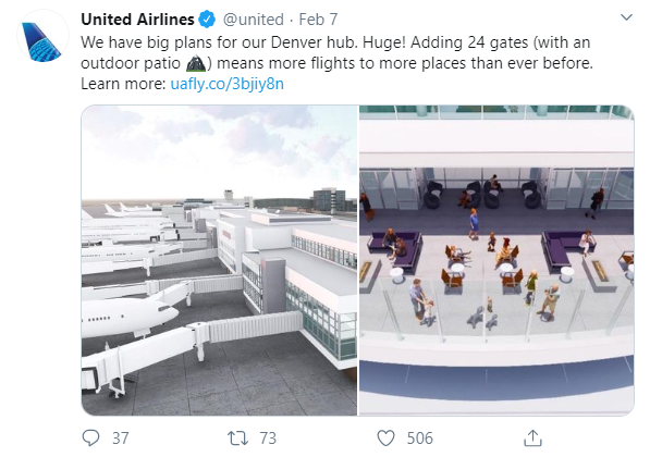 Social media post ideas – United Airlines shares its plans for future on Twitter