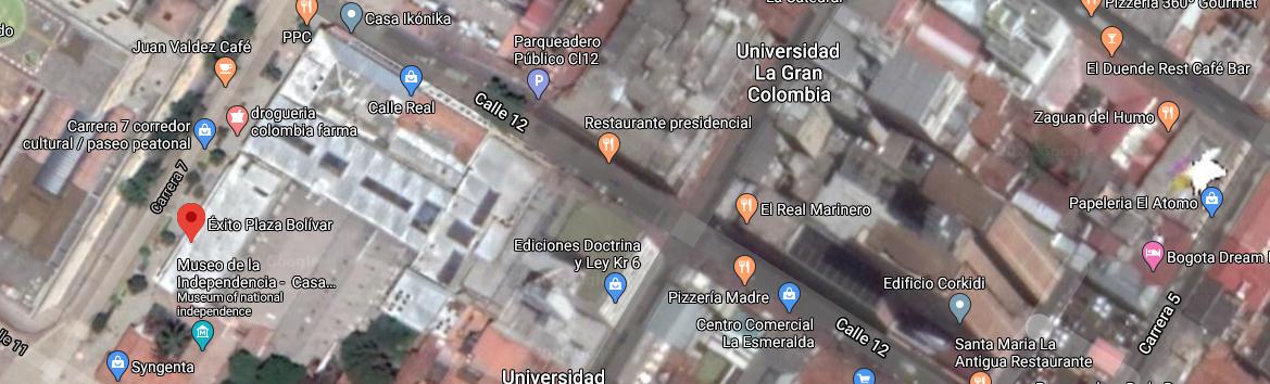 mapa exito plaza bolivar