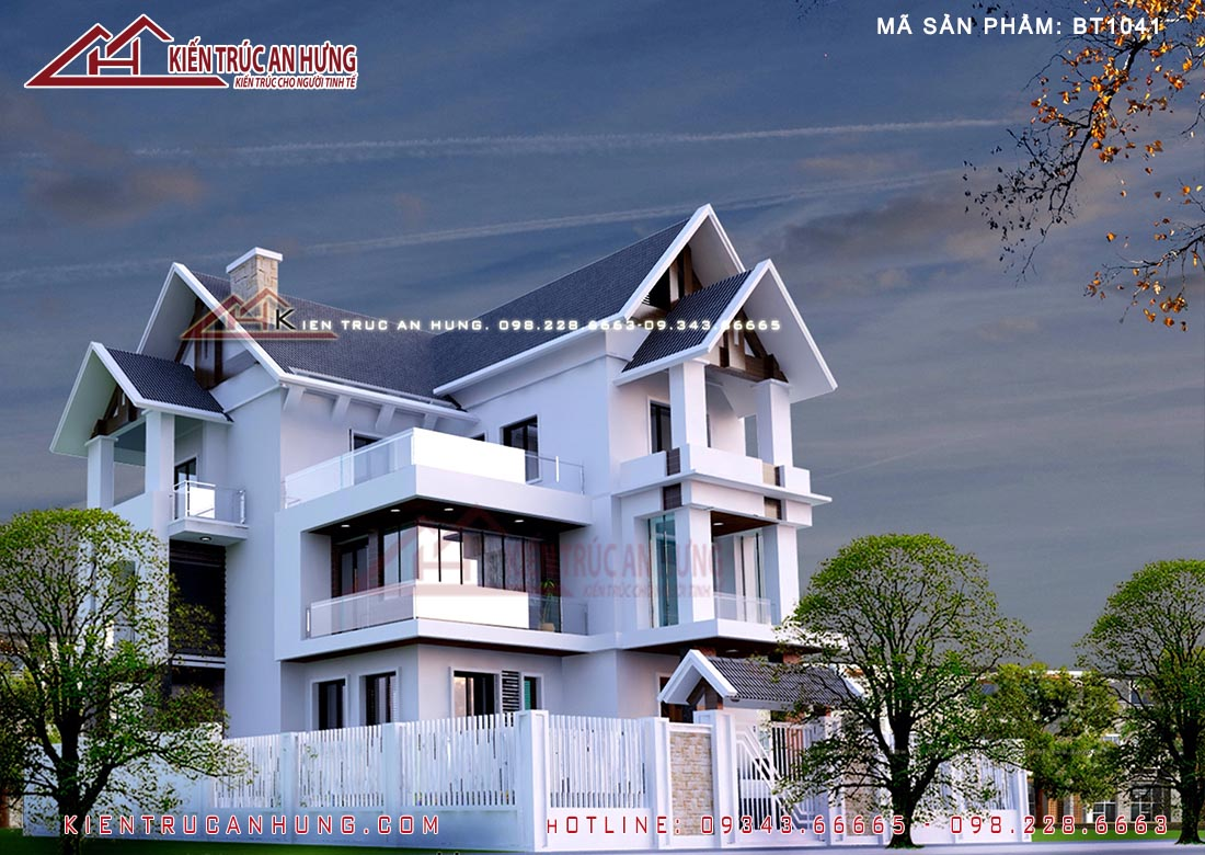 Biệt thự mái thái mang phong cách kiến trúc hiện đại BT1041 với nét đẹp phá cách độc đáo