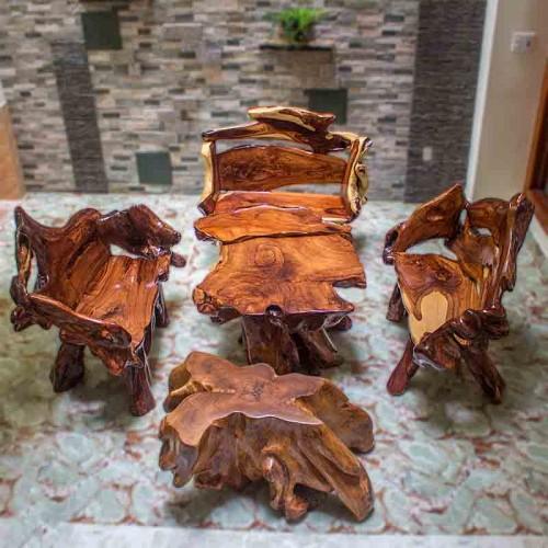 Bộ bàn ghế góc gỗ Cẩm Lai - BG099