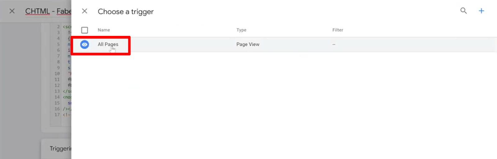 Select All Pages trigger for Base Facebook Pixel Tag