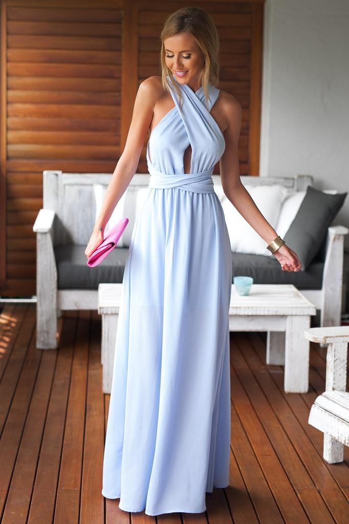 Платье в пол голубого цвета фото