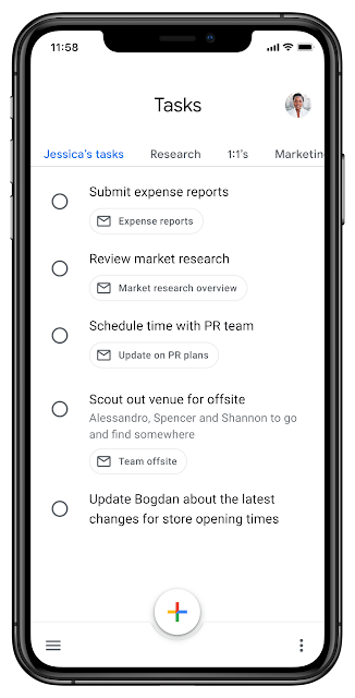 Tasks Mobile displays multiple lists at the same time