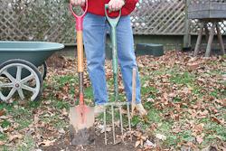 tools spade garden fork