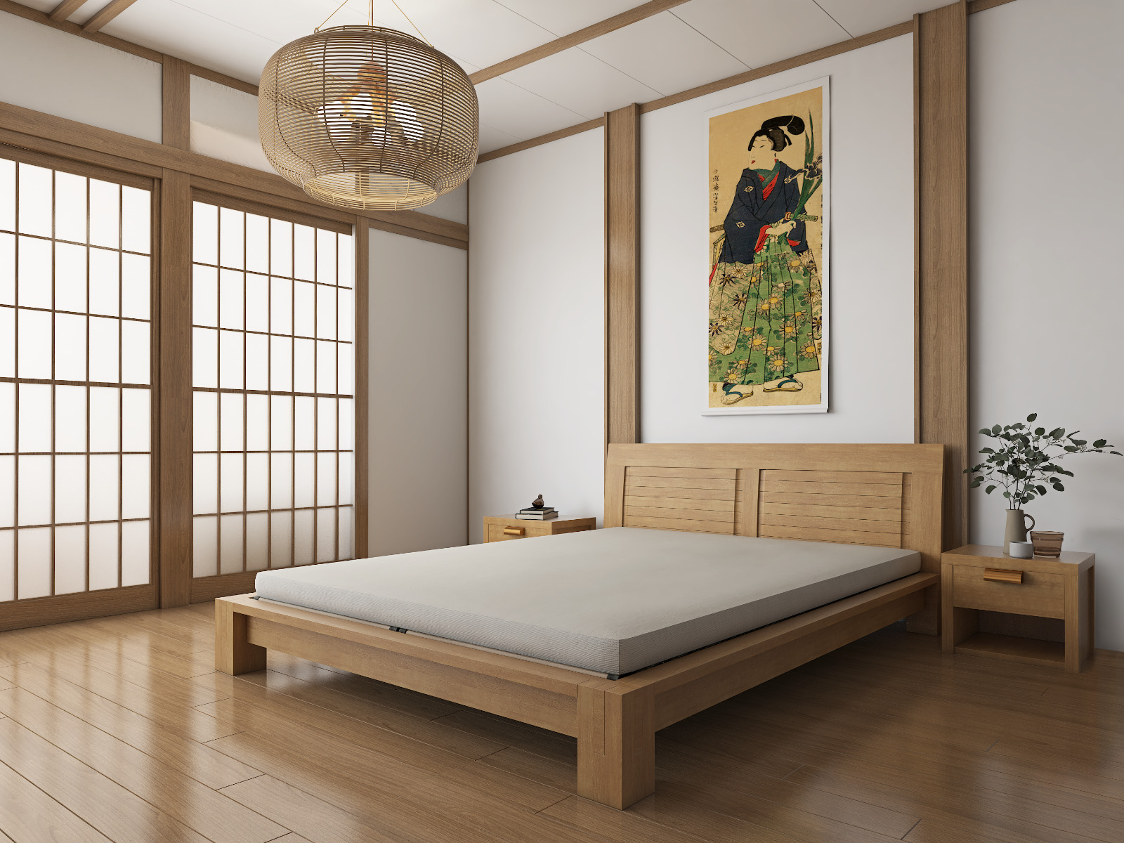 A Geisha painting is mounted above the bed