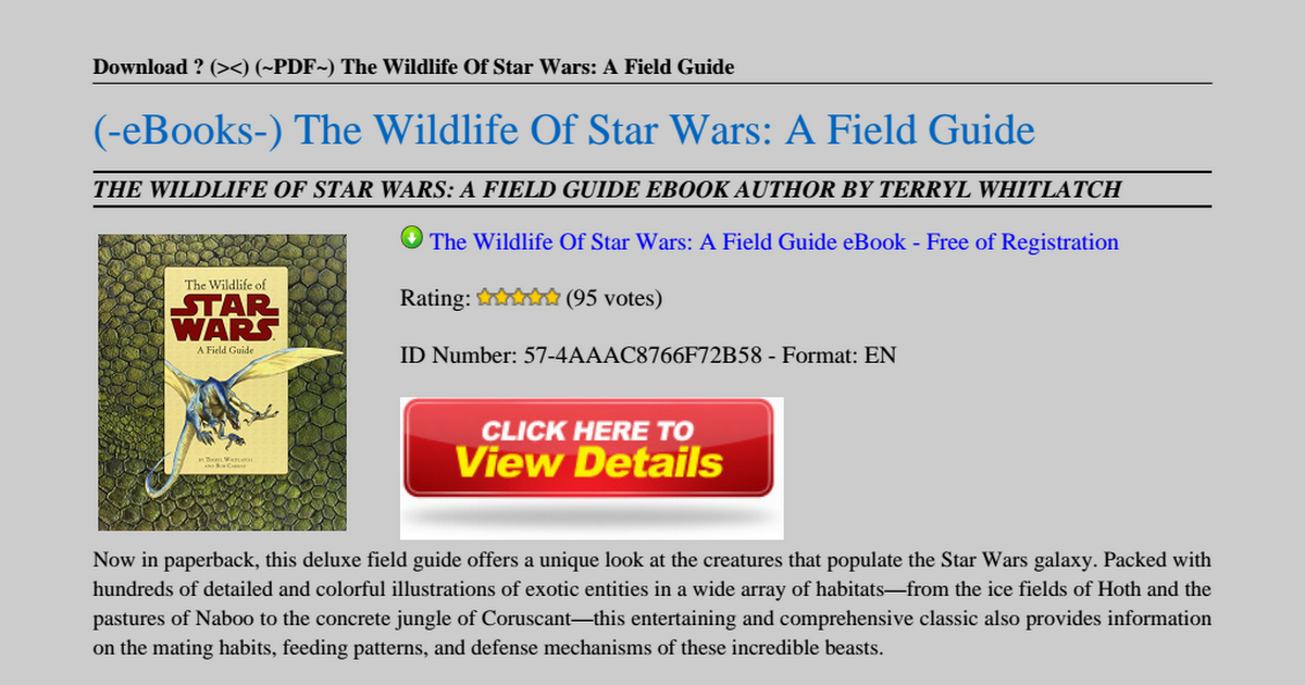 The Wildlife Of Star Wars A Field Guide Pdf Google Drive