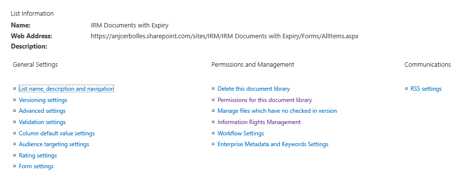 Information Rights Management in Document Library
