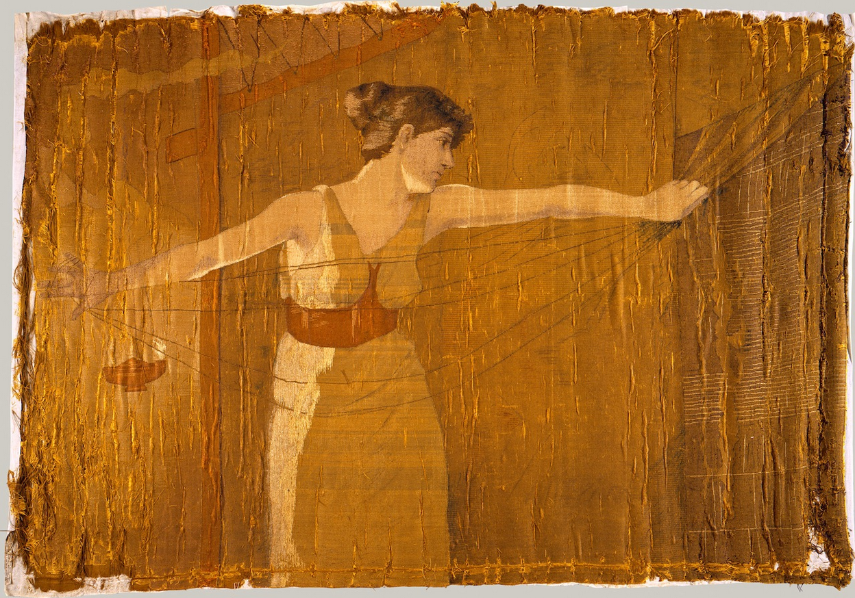 On this silk embroidered tapestry, Penelope (approximately life size) stands in the center facing out toward the viewer. She turns her head to her left to look  back at her loom behind her, where the tapestry she is weaving is hung. A small oil lamp on the left indicates that the scene takes place at night. By the lamplight, Penelope unravels her weaving.