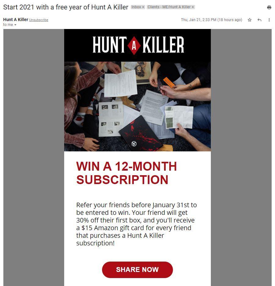 Hunt a Killer Referral Program