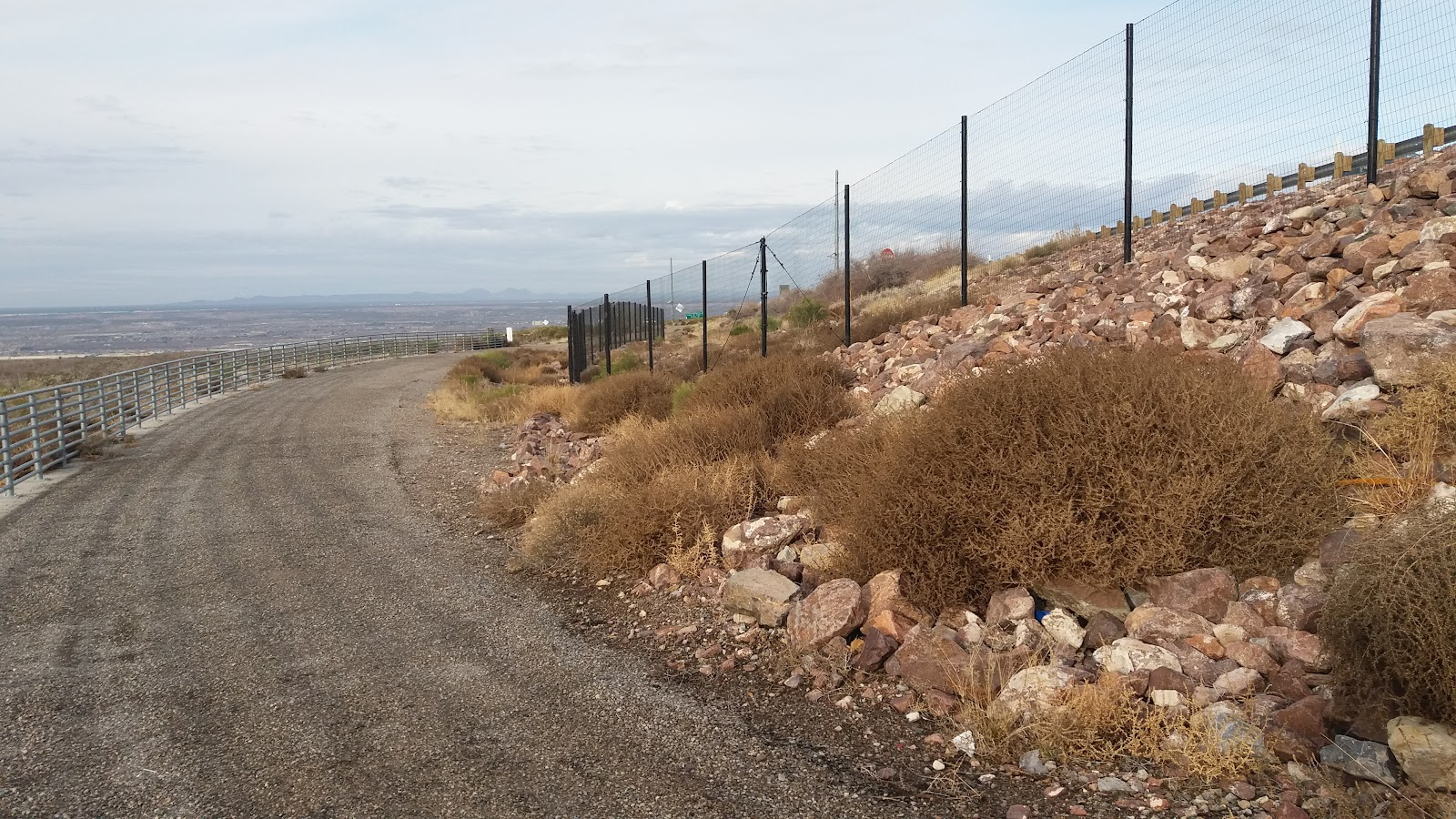 Bicycle climb Smugglers Pass West - Transmountain Drive - gravel path