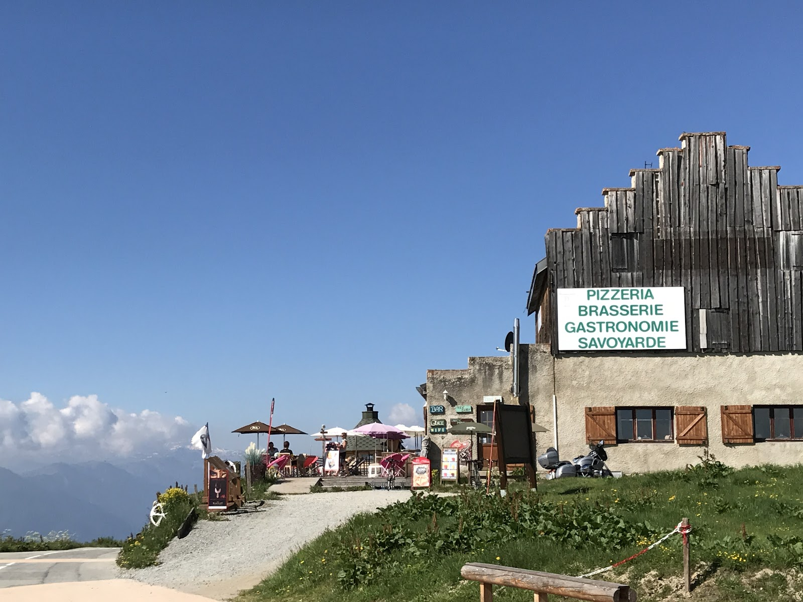 France greatest bike climbs Col de Madeleine from La Chambre  - cafe at the col