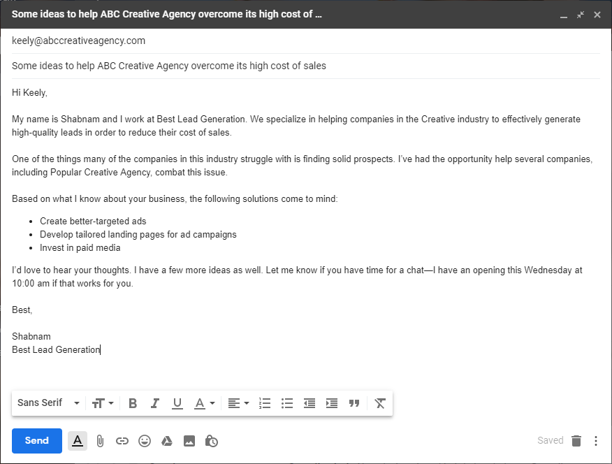 "example of ""here's some free advice"" sales prospecting email template."