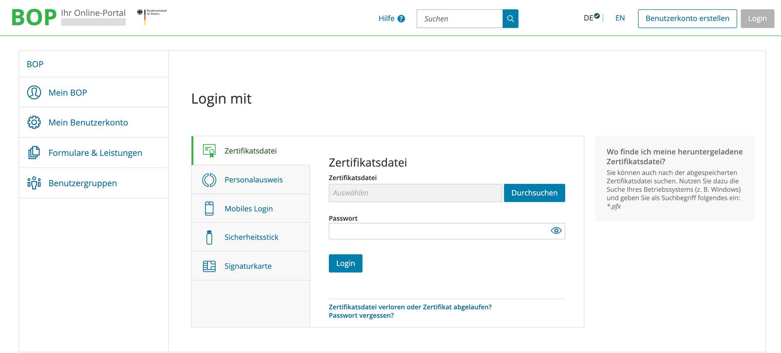 Login für die Online Registrierung zum One Stop Shop über das Portal Mein BOP des BZSt