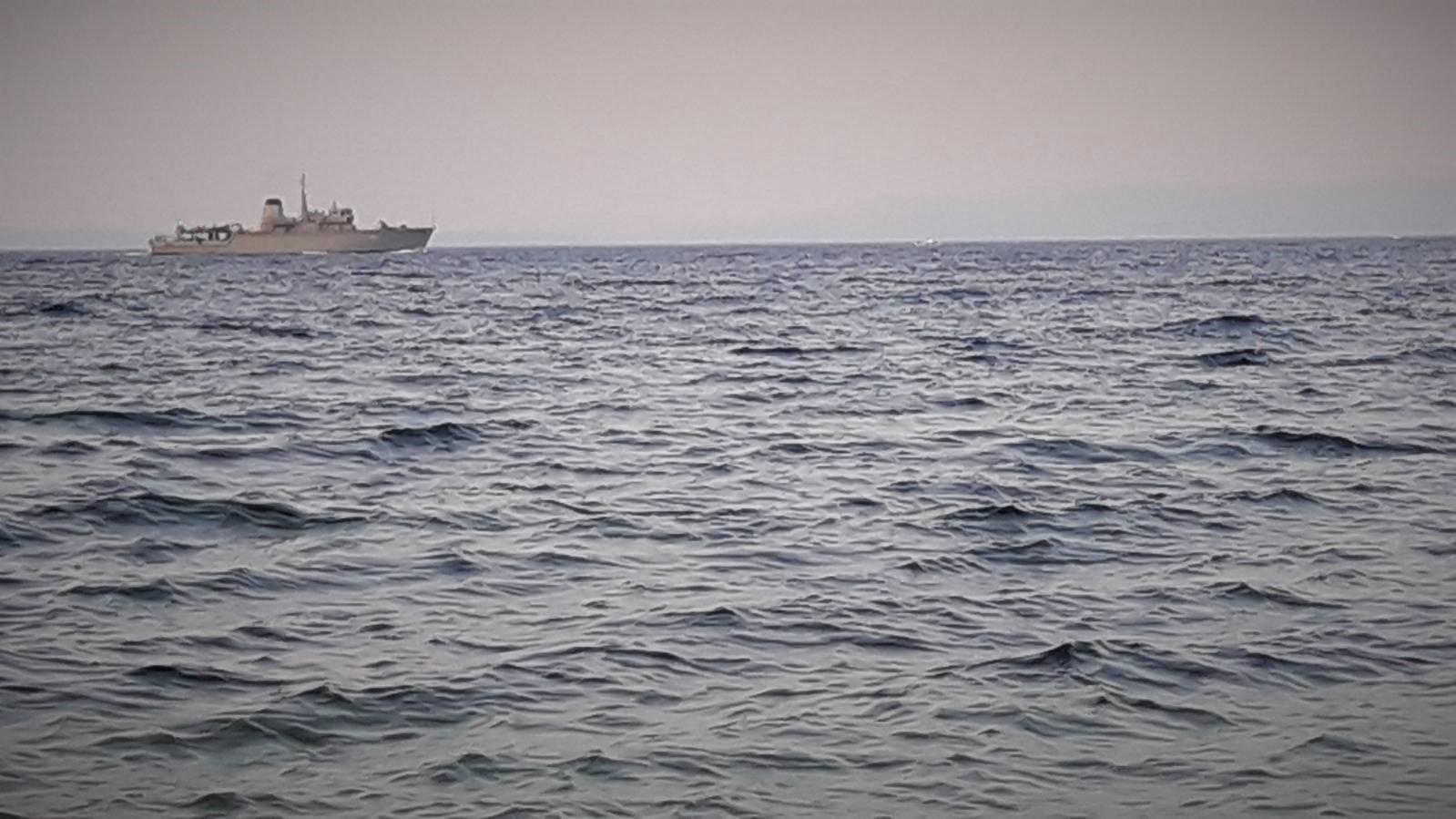 Hellenic Coast Guard vessel patrolling the Aegean Sea off the coast of Lesvos island.