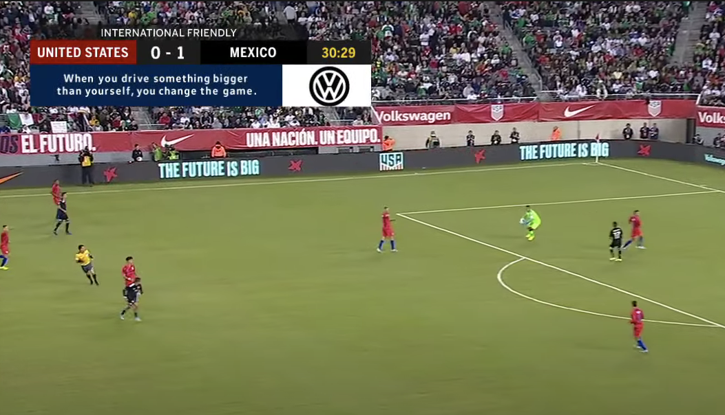 Live football graphics, with an attached Volkswagen advertisement.