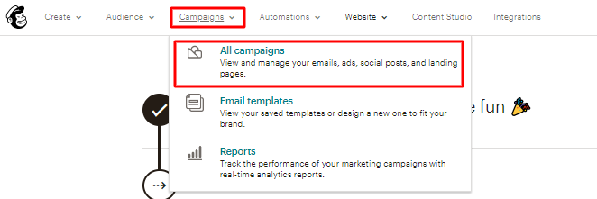 opção de criar campanhas de email no MailChimp