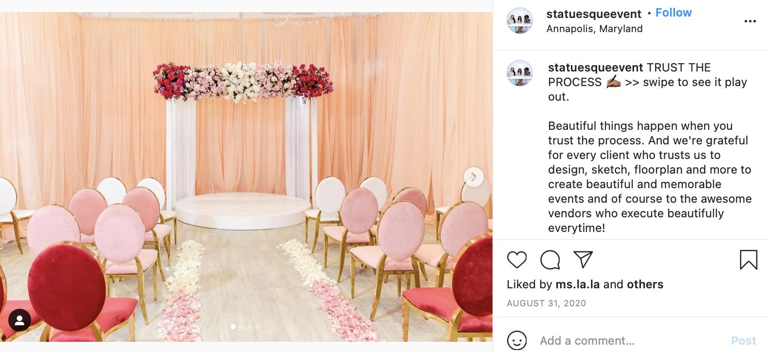red gradient wedding altar