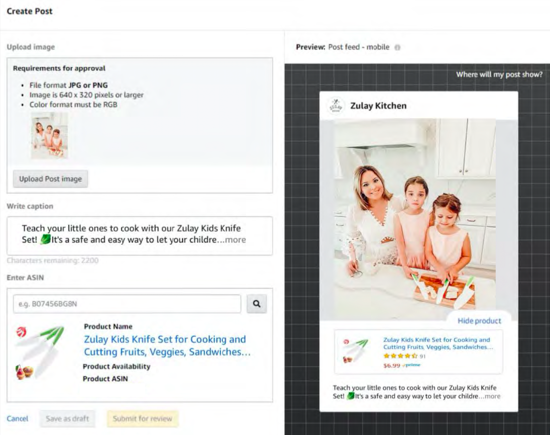 how to create am amazon post