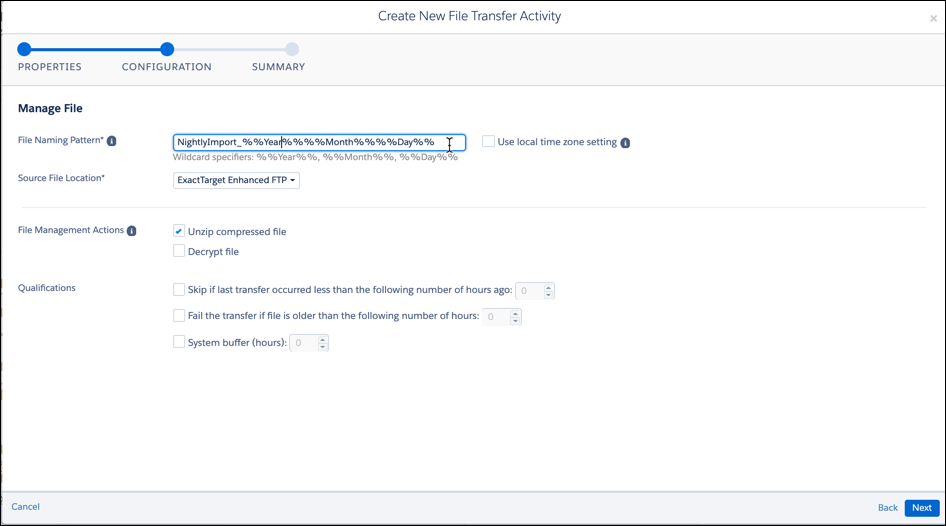 Configuration screen in file transfer activity.