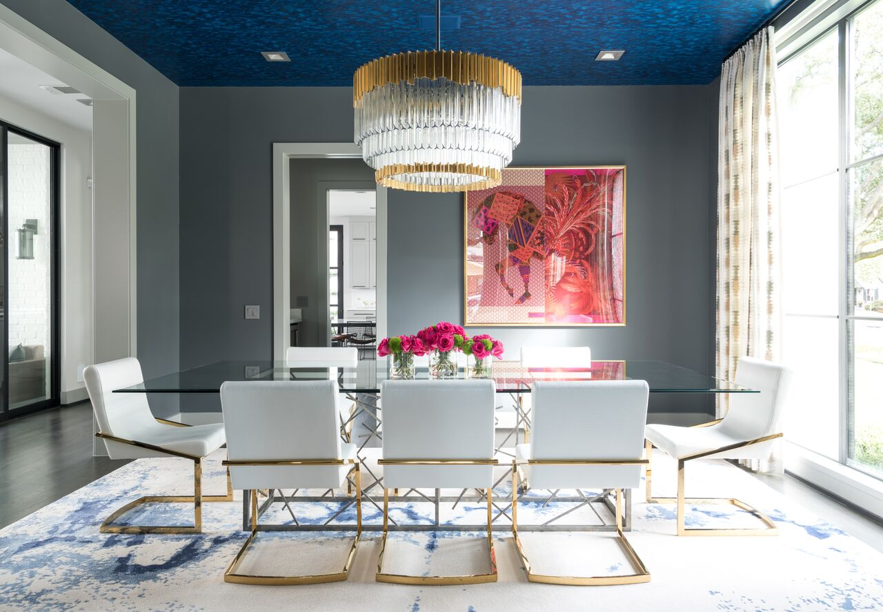 Statement lighting, Formal Dining, Bright Colors, Laura U interior Design