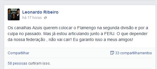 Capitão Leo confessa articulações na FFERJ para ajudar o Flamengo