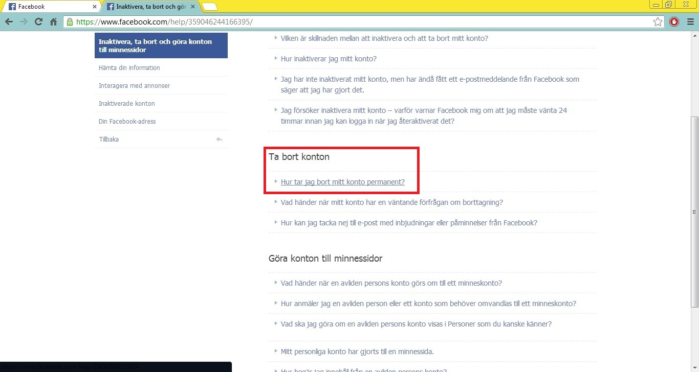 slette facebook konto permanent Finnsnes