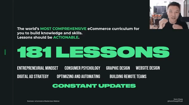 ecommerce millionaire mastery kevin zhang lessons