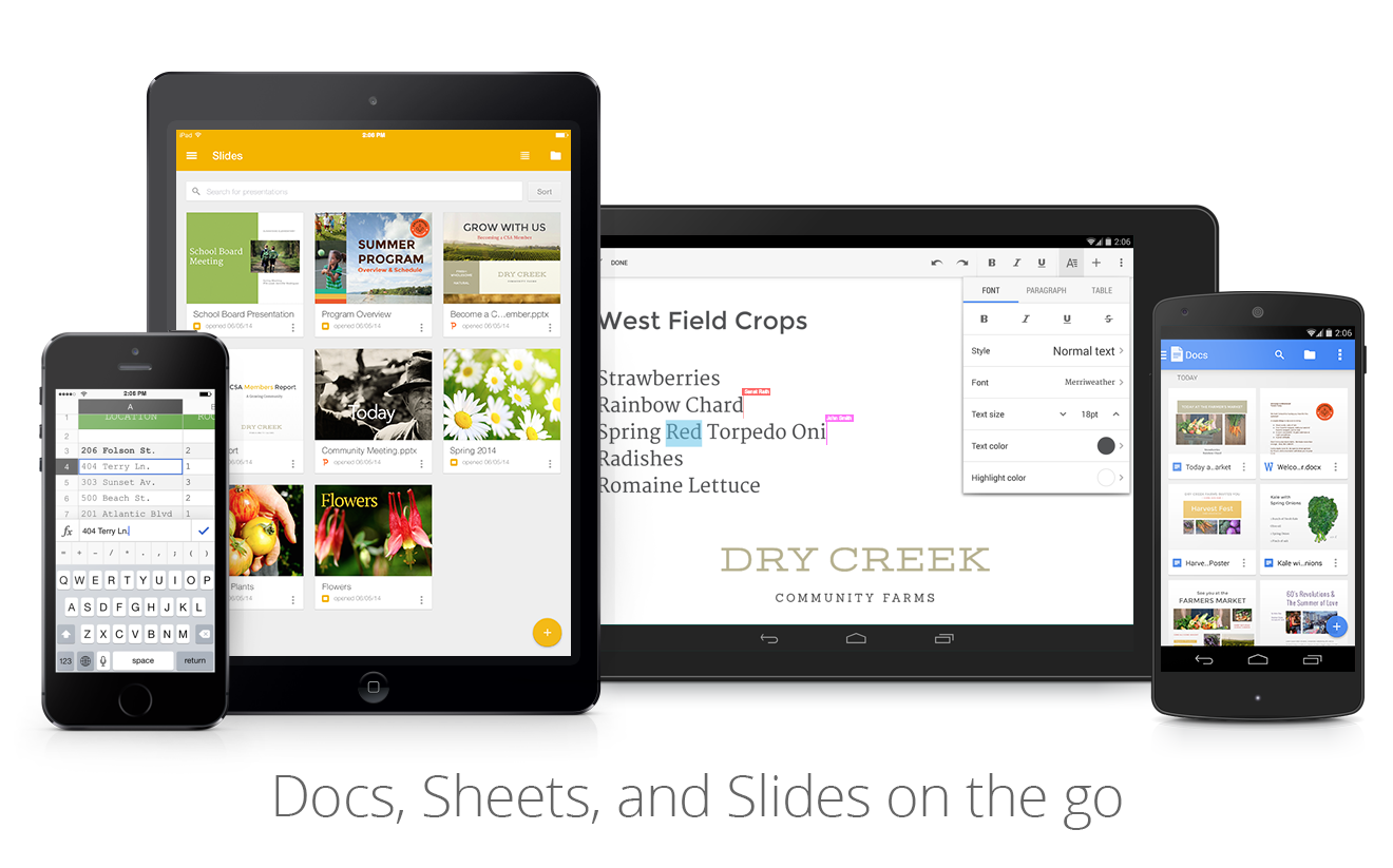 Mobile devices showing Google Docs editor apps