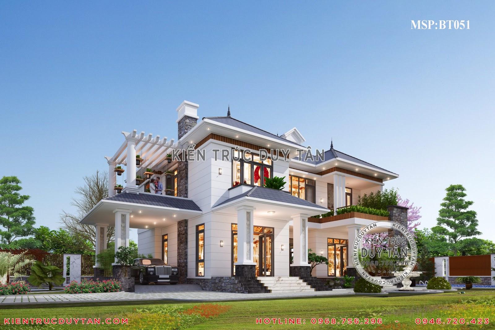 Tổng thể thiết kế ngoại thất của mẫu biệt thự 2 tầng sân vườn của chị Sang