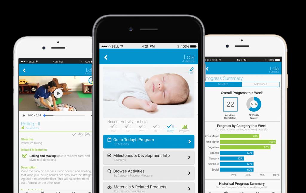 The BabySparks' app user interface