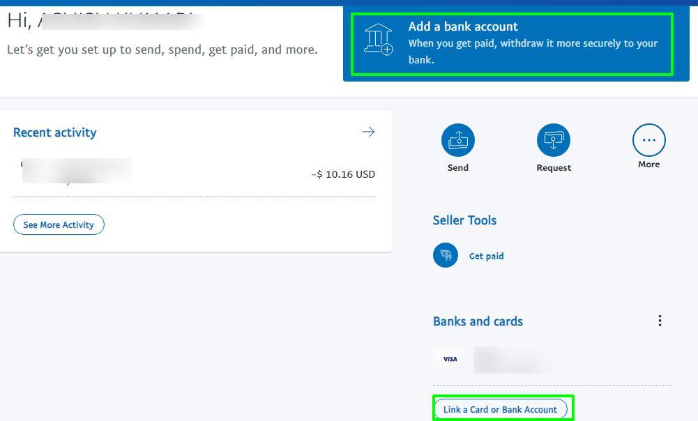 thêm tài khoản ngân hàng với paypal