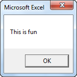 Simple Message in Excel VBA